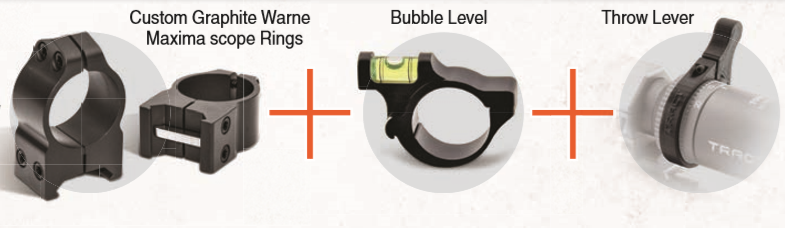 """TORIC 1"""" WARNE High Accessory Kit - Includes Warne High Graphite Rings, Bubble Level and Throw Lever"""