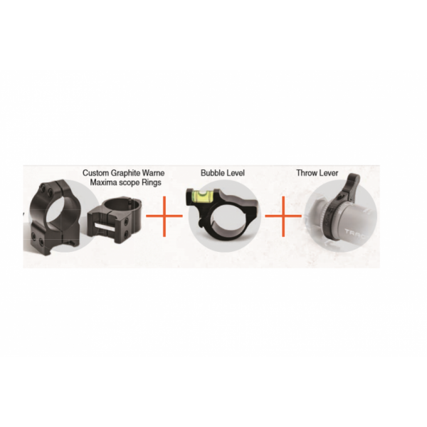 "TORIC 1"" WARNE Medium Accessory Kit - Includes Warne Medium Graphite Rings, Bubble Level and Throw Lever"